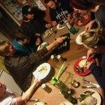 Communal hostel dinner