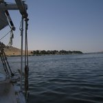 view from felucca on nile in aswan
