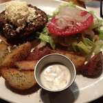 The Greek Burger with red potato wedges! yum!