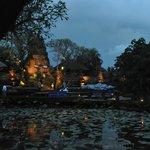 View to the Pura Taman Kemuda Saraswati, Ubud, from Lotus Cafe