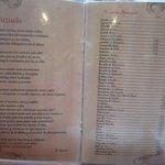 Carta de especialidades gatronómicas