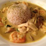 Chicken and Shrimp Curry with brown rice. Delicious.