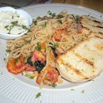 Sea Food Linguine with garlic bread and parmesan