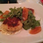Crab Cake + Peaches appetizer