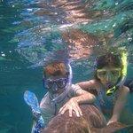 With Tacio's help, kids holding a nurse shark at Shark Ray Alley