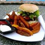 Cajun Chicken Burger and Homemade Wedges