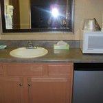 Sink/Refrigerator outside of bathroom
