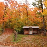 Camping Cabin and Fall Colours.