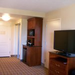 Mini Refrigerator and Microwave/Coffee & TV in Room.