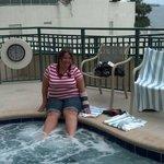 """Enjoying the extremely """"HOT"""" hot tub!!!"""