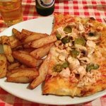 Half a Pollo pizza and home made chips! tasted amazing with the Tabasco on :))
