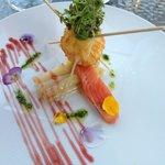 Œuf mollet sur lit d'asperges et saumon