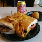 Bistec sandwich and yerba mate soda.