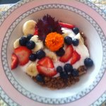Homemade granola garnished with garden flowers
