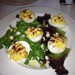 Bleu cheese devilled eggs