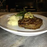 Ribeye Steak with fresh Asparagus and Puntanesca butter and Garlic Mashed Potatoes=DELICIOSO
