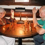 OK, we faked checkmate but games abound in the lodge, as well as art supplies for children.