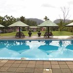 Swimming pool near dining area