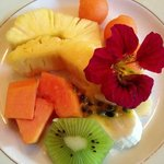 Breakfast fruits with a flower (eatable!!)