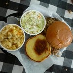 Pulled Pork Sandwich Platter with slaw and potato salad