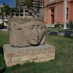 Goddess Hathor sculpture in front of museum