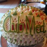 Fruit carvings in restaurant