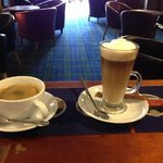 lovely Americano and latte made with freshly ground Italian coffee beans.