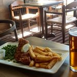 Fish and Chips and a pint of 'Ghost Ship'. £5.99