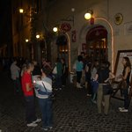 Outside, the picture is taken around 11pm. There are always people lining up to get in (after 7