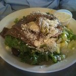 Greek Salad with Gyro Meat - Iceberg lettuce, mixed greens, tomatoes, kalamata olives, onions, p