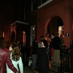 Some of our fellow guests standing in the cold waiting for the fire brigade to give us the all c