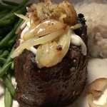Filet mignon with carmelized shallots and roasted garlic