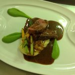 Lamb with garlic mash & pea puree