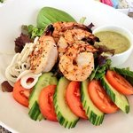 tropical chicken salad with grilled shrimp! delicious