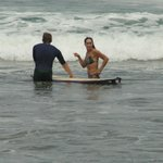 Liz teaching a surf lesson