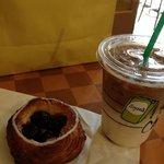 cherry pastry next to my Starbucks coffee... amazing!