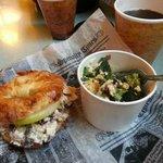 Cherry Chicken Salad Sandwich and Smoked Gouda Broccoli