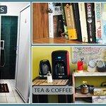 Bathroom, book exchange & tea/coffee