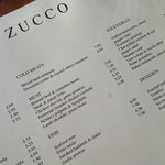 Zucco menu for our visit. Simple, fresh and creative.