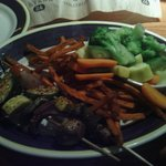 Skewered vegetables, sweet potato fries, and mixed steamed vegetables