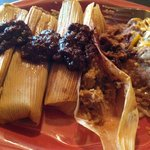 Tamales, refried beans
