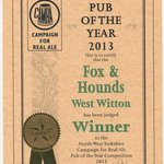 Fox and Hounds CAMRA NW Yorks POTY 2013
