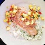 5 spice snapper with pineapple salsa and cilantro rice