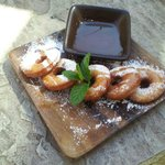 Warm doughnuts with salted butterscotch sauce