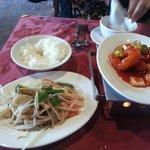 rianbow veg, rice , sweet n sour pawn