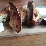 Toasted raisin bread. So delicious with organic butter and queso fresco.