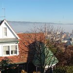 View from our balcony of the early morning fog rolling down the Tamar