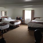 Three Queen Beds in the room, but stained carpets in the middle and near window areas