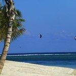 Kite surfers in front of the hotel
