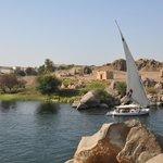 Felucca and Elephantine Island from Nubian Restaurant, May 2013